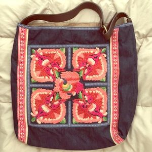 Large over the shoulder embroidered tote